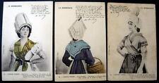 France~NORMANDIE~Victorian Ladies Hats & COIFFE~3 x PC