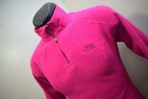 42195 Womens North Face PolarTec Pink Zip Neck Sweater Jacket Size Small