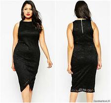Womens Ladies High Low Assymetric Lagenlook High Neck Plus Lace Midi Dress 16
