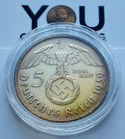 5 Reichsmark Silver Coin 1939 B Third Reich Germany Paul von Hindenburg 5 Mark