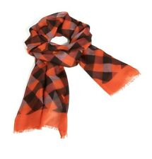 Vera Bradley Soft Fringe Scarf BUFFALO CHECK BURNT ORANGE NWT Wrap RED BLACK New