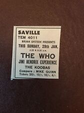 J1c Ephemera 1967 Advert Small The Who Jimi Hendrix Saville Theatre London