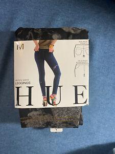 HUE Womens Skinny Jeanz Leggings ~ Tonal Floral Black~sz M New