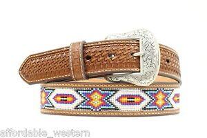 NOCONA ~Leather w/ BEADED Inlay~ WESTERN BELT- Cowboy Native Southwest N2412608