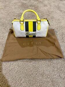 Gucci Joy Boston Bag White/Yellow Gg Supreme Canvas Small Web Wristlet