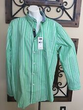 New Chaps Men's Long Sleeve Easy-Care Button Down Shirt LG L Clover Green