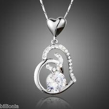 New Platinum Swarovski Elements Crystal Rhinestone Silver Heart Necklace Pendant