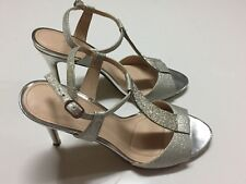 USED ONCE Silver I. Miller Calleen T-Strap Pumps PROM Size 9 1/2