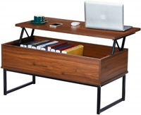 Lift Top Coffee Table Dining Table W/ Hidden Compartment & Storage Space Walnut