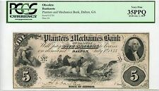 1855 $5 The Planters and Mechanics Bank - Dalton, GEORGIA Note PCGS VF 35 PPQ
