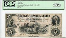 1855 $5 The Planters and Mechanics Bank - Dalton, GEORGIA Note PCGS VF 35 PPQ