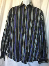 Bugatchi Uomo Mens Striped Purple Black Flip Cuff Contrast Casual Dress Shirt M
