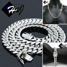 "24""MEN Stainless Steel 14mm Silver Diamond Miami Cuban Chain Bracelet Necklace"