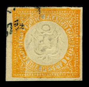 PERU 1872  Coat of Arms  1p orange   Scott# 15 used VF