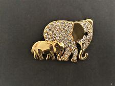 Brosche Pierre Lang Elefantenmutter mit Kind vergoldet