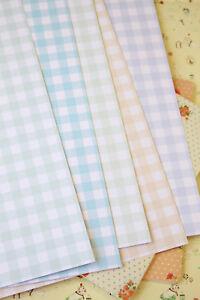 Gingham Pastel Card Stock 250gsm printed check pattern wedding craft postcard