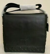 NWT Coach F73340 Houston Map Bag in Signature Leather $428 Black Original Packag
