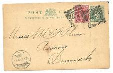1/2D Reina Victoria Tarjeta Post + 1D Rojo Scarborough Squared círculos 1902 Dinamarca