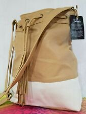 Hide & Soul Unique LEATHER outer & Lining Large bucket cross body bag TAN NEW