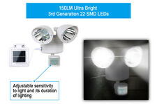 Solar Power Motion Sensor Light 22 Led Dual Head Outdoor Security