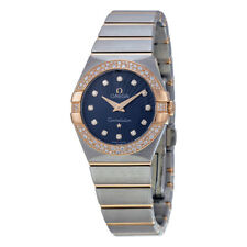 Omega Constellation Diamond Blue Dial Rose Gold and Steel Ladies Watch