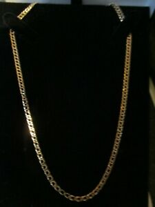 """9ct Gold Hallmarked Flat Link Curb Chain 19"""" 6.2 grams"""
