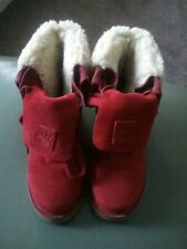 BEARPAW RED SUEDE FLEECE LINED BOOTS SIZE 3 NEW