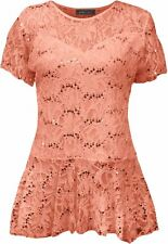 Womens Lace Size Floral Peplum Sleeve Top Flared Frill Short Tunic Plus Pattern Coral UK 20