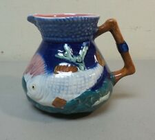 "COLORFUL ANTIQUE ""SHORTER & SONS"" ENGLISH MAJOLICA 4"" PITCHER with FISH"