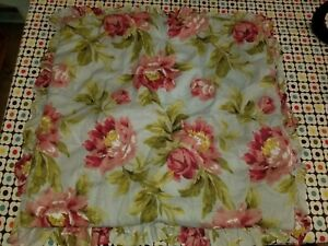 """Pottery Barn """"Blue w/Pink Roses Reversible"""" Quilted Euro Sham"""