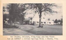 Ocala Florida~Sarres Roadside Diner~Frog Legs~Chicken~1940s B&W Litho Postcard
