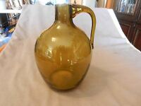 "Vintage Olive Green Glass Pitcher Jug 7.5"" Tall"