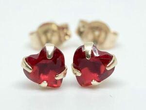 .9K SOLID YELLOW GOLD HEART CUT RUBY STUDS EARRINGS