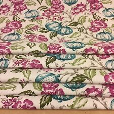 ROMAN BLIND MADE TO MEASURE TEAL & PINK GREEN  FLORAL ASHCOMBE BOTANICAL . -