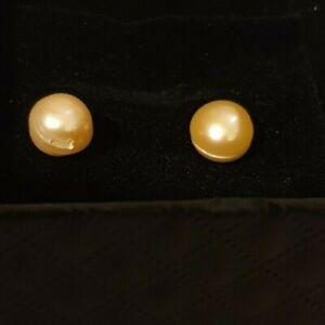 mystic peach sterling silver stud earring Natural Genuine Freshwater Cult  Pearl