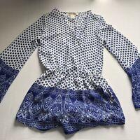 Mimi Chica Blue White Print Long Sleeve V-Neck Romper Sz S A932