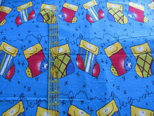 Christmas stocking fabric BLUE flannel JoAnns 1 yard cut smiley