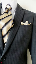 VINCENZI 2B MEN'S SUIT WOOL M. GRAY w/ STRIPES 36S 36 S FREE SHIP & TIE SET