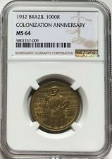 NGC-MS64 Brazil 1932 Colonization 1000 Reis