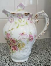 ANTIQUE WEIMAR GERMANY CHOCOLATE POT ROSES EMBOSSED DAISY PAINTED DETAILED LID!!