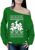 Ugly Christmas Reindeer Love Off the Shoulder Sweater Funny Deer Humping Xmas
