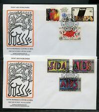 Keith Haring Cacheted Wfuna 1990 Lucha Ayudas Juego En 2 Primer Día Cubiertas