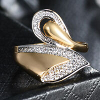 Pear Waterdrop Silver & Gold Filled Crystal Sapphire Women Lady Party Band Rings