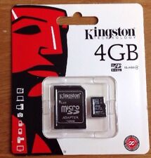KINGSTON 4GB MICRO SDHC + full size sd adapter MEMORY CARD CLASS 4 BRAND NEW
