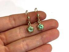 1.30CT  Glowing Green Colombian Emerald 14K Yellow Gold Dangle Flower Earrings