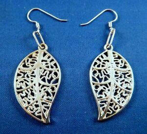 """NEW sparkly 925 Silver SP Filigree LEAF dangle Earrings, French wires, 2.5"""" drop"""
