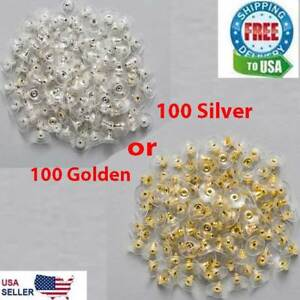 100 Earring Backs Posts Silver Golden Backings Stopper Ear Ring Jewelry Nut 11