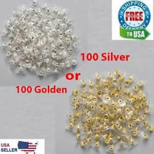 100 Earring Backs Posts Silver Golden Backings Stopper Ear Ring Jewelry Nut 11