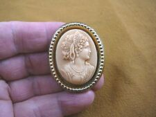 (CM91-6) STYLIZED ROMAN woman FACE ivory oval CAMEO Pin Pendant Jewelry Necklace