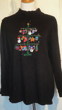 Quaker Factory Embellished Novelty Christmas Tree Pullover Sweater  L B42 Black